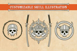 Customizable Skull Illustration