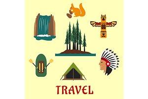 Canada travel icons and symbols