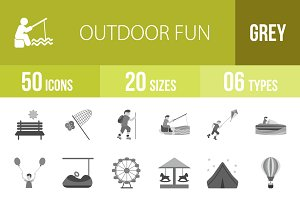50 Outdoor Fun Greyscale Icons