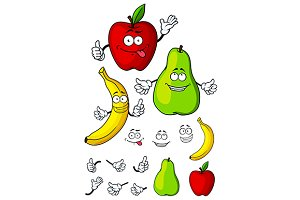Happy apple, banana and pear fruits