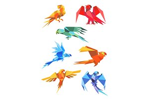Colorful orogami paper parrot birds
