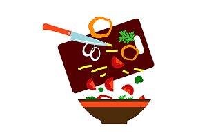 Cooking fresh vegetarian salad