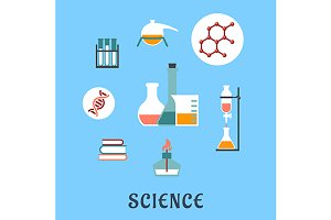 Flat science and research icons