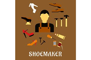 Shoemaker profession flat icons