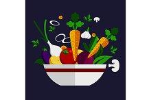Vegetarian salad ingredients in bowl