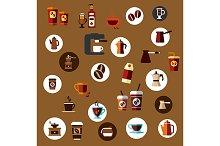 Takeaway cups, beans, coffee pots