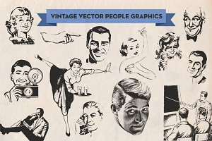 Vintage Vector Advertising People