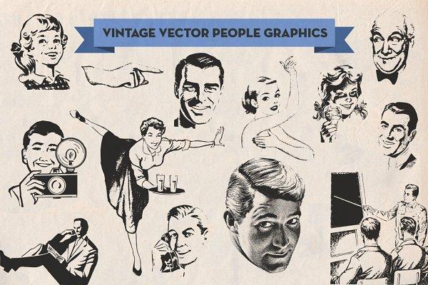 Vintage Vector Advertising People