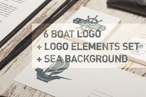 Boat logos set