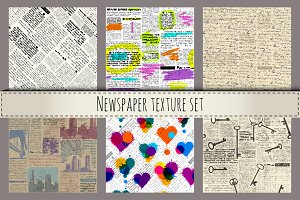 Newspaper seamless patterns.