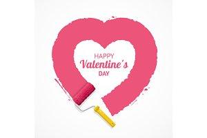 Pink Valentine Heart. Vector