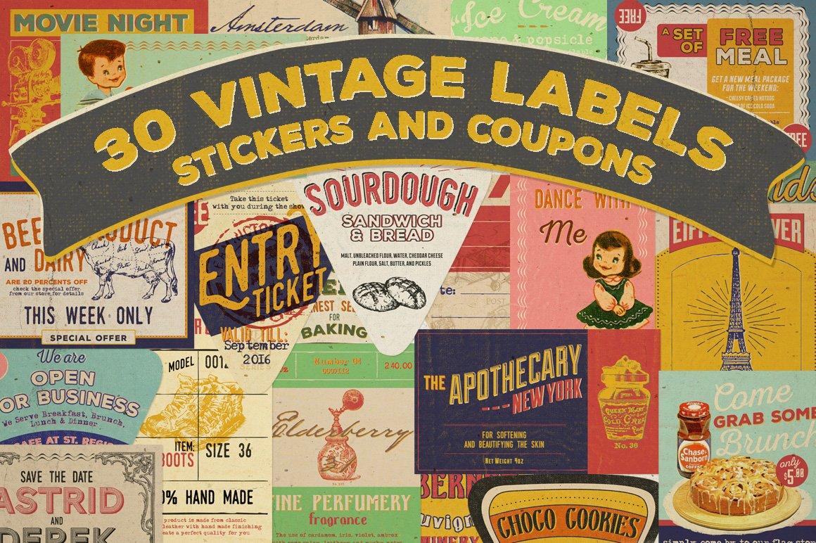 30 vintage labels stickers icons creative market. Black Bedroom Furniture Sets. Home Design Ideas
