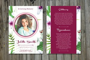 Funeral Program Card Template-V358