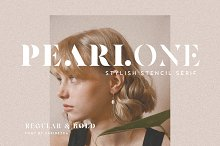 Pearlone - Stylish Stencil Serif by  in Fonts