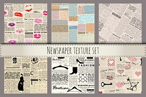 Newspapers texture set.