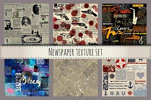 Newspaper texture set.