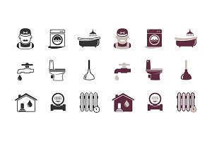 Plumbing and engineering icons set