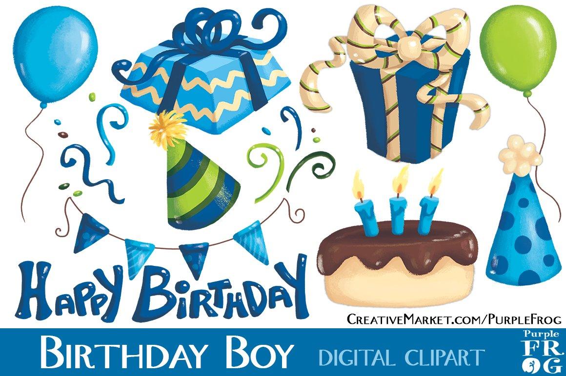 birthday boy digital clipart illustrations creative market