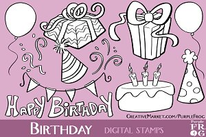 BIRTHDAY - Digital Stamps / Brushes