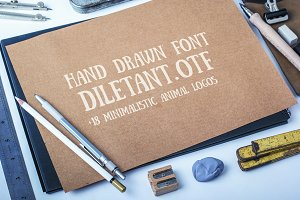 Hand drawn font + 18 logotypes