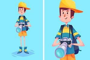 Vector photographer or tourist