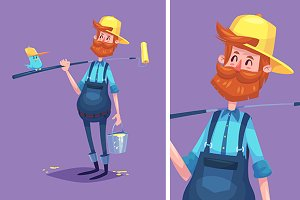 Vector illustration of painter