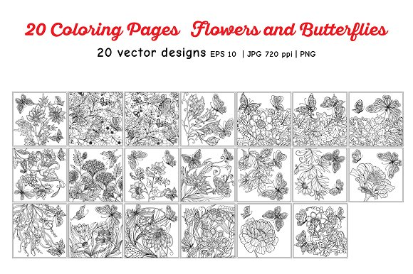 Flowers and Butterflies in Illustrations - product preview 1