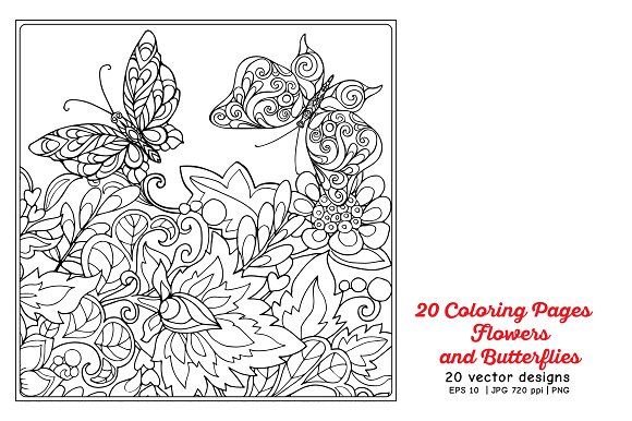 Flowers and Butterflies in Illustrations - product preview 2