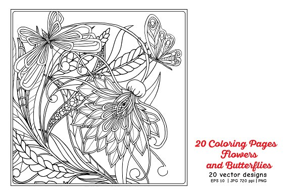 Flowers and Butterflies in Illustrations - product preview 3