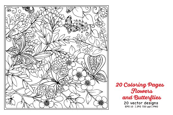 Flowers and Butterflies in Illustrations - product preview 4