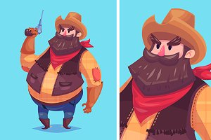 Vector illustration of cute cowboy
