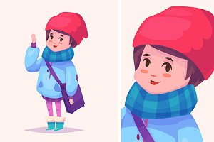 Vector illustration of cute girl