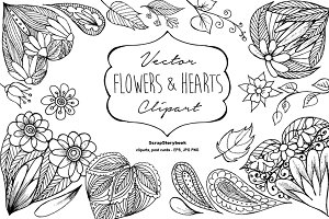 Vector Flowers & Hearts Clipart
