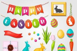 Happy Easter objects, decorations.