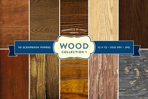 10 Wood Scrapbook Papers - Set 1