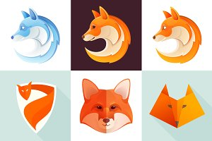 6 colorful fox icons