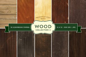 10 Wood Scrapbook Papers - Set 2