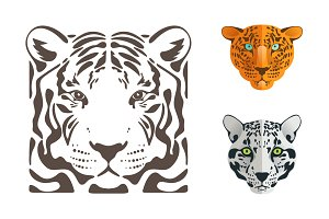 Tiger, jaguar and leopard icons