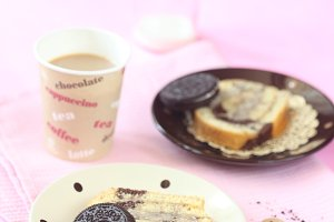 Two Pieces of Oreo Swiss Roll Cake