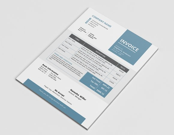 elegant business word invoice design stationery templates creative market - Invoice Design