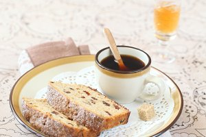 Two pieces of Earl Grey Loaf Cake