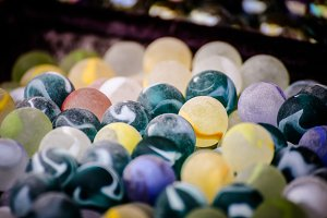 Glass Marbles green yellow blue