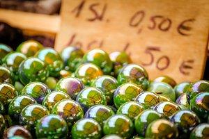 Glass Marbles light green yellow
