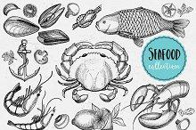 Seafood doodle 21 elements