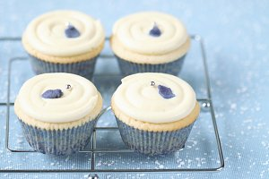 White Chocolate Violet Cupcakes