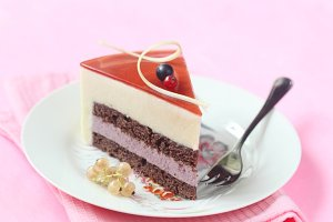 Piece of Summer Berry Mousse Cake