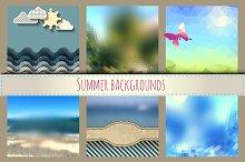 Set of sunny summer backgrounds.