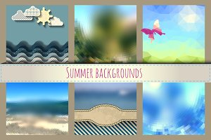 Set of sunny summer backgrounds.