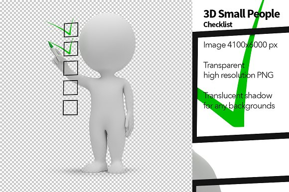 3d small people checklist illustrations