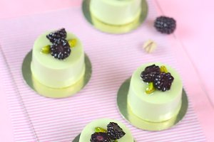 Pistachio Blackberry Mousse Cakes